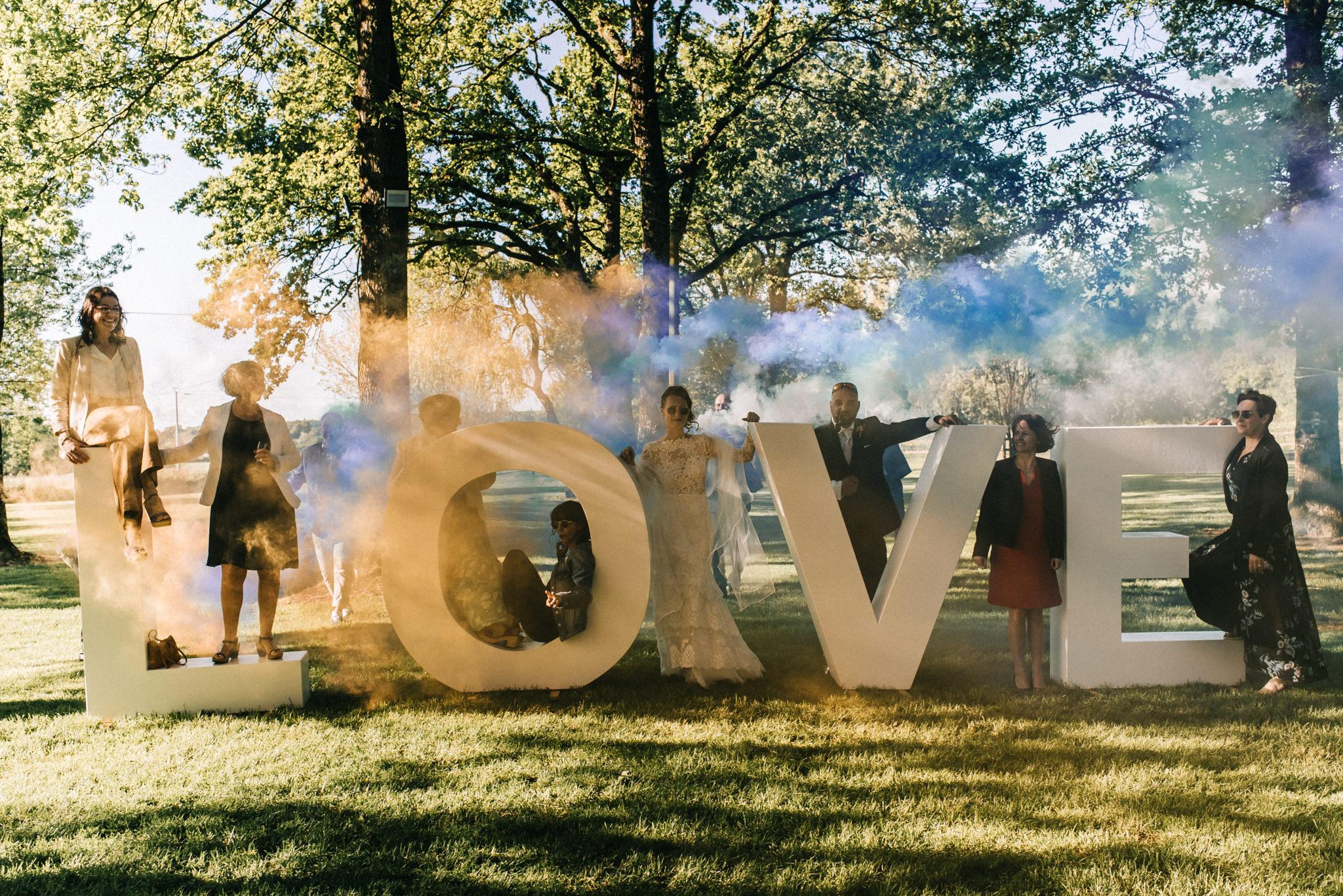 mariage Mayenne fumigène love