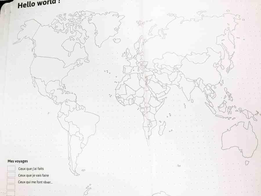 Page de la mappemonde d'organisation de voyage