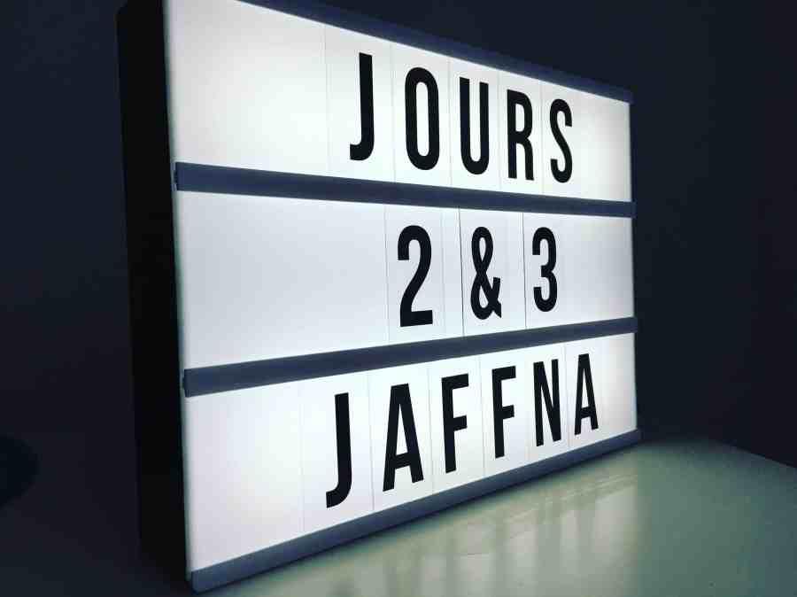 Ma lightbox avec Jaffna écrit