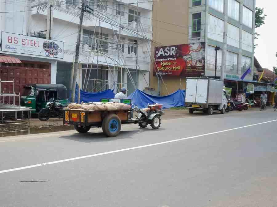 Un homme sur la route en charrette