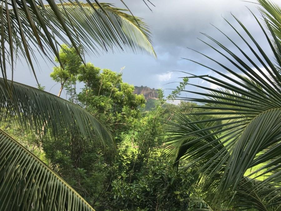 La vue du rocher de Sigiriya depuis notre chambre