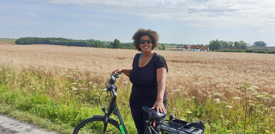 Itinéraire à vélo sur le réseau points noeuds en campagne dans le nord