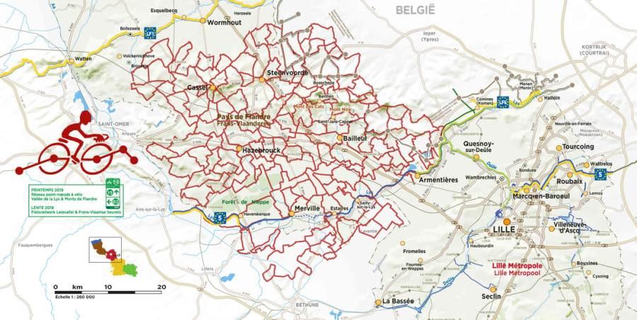 Carte itinéraire à vélo sur le réseau points noeuds