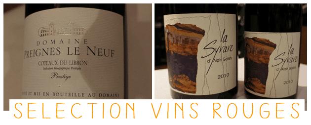 la sélection vins rouges de l'échanson