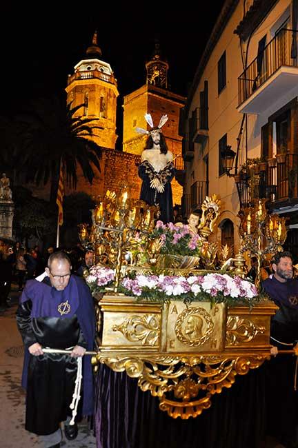 Paso con Cristo doliente de la procesión del silencio, en Semana Santa.
