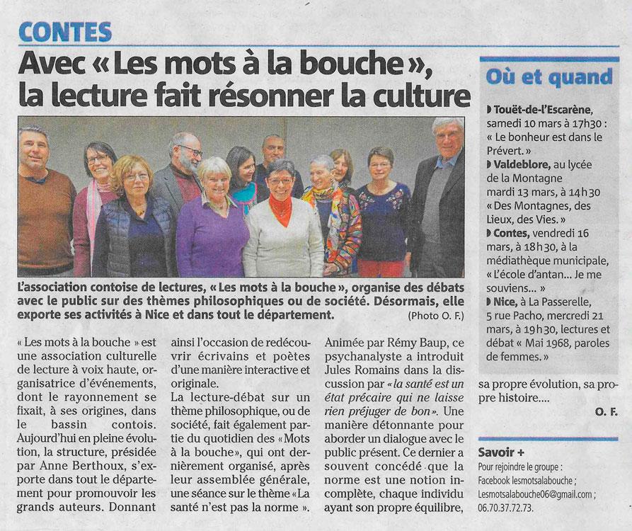 article du Journal Nice Matin sur l'assemblée générale Les mots à la Bouche