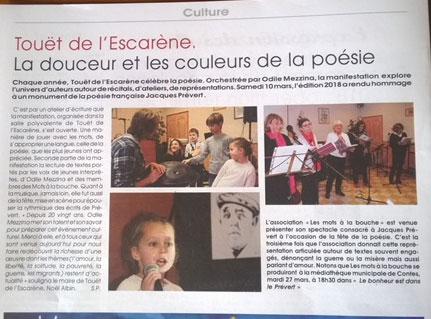 """Article du journal """"Lettre Paillon"""" sur la lecture scénique :""""Le bonheur des enfants est aussi dans le Prévert"""""""