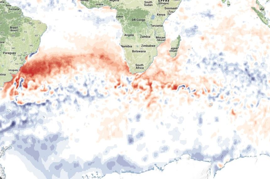 Anomalie thermique Atlantique sud face Uruguay