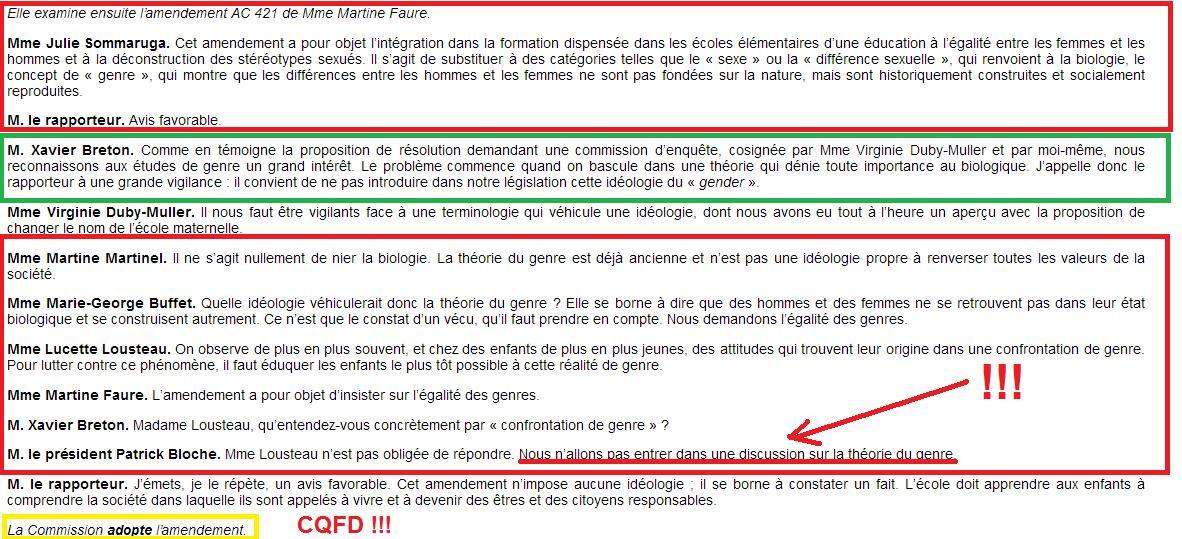 Théorie du Genre - Amendement AC421 du 28-02-2013