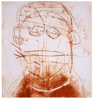 Tête rouge, gravure, 2004 56x50 cm encadré: 68x62 cm