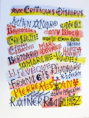 VILLEGLE Jacques, Aux critiques disparues - Mémorial sociopolitique, 2012, sérigraphie, 65x50 cm