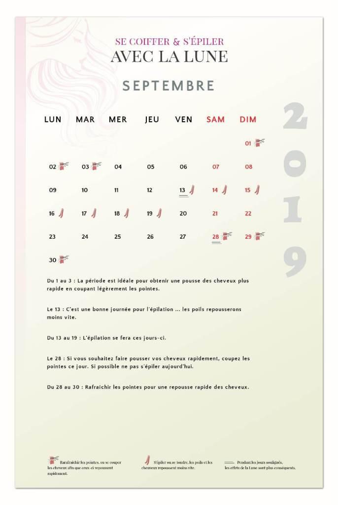 calendrier lunaire capillaire septembre 2019