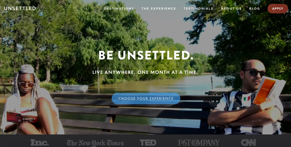 Page d'accueil du site beunsettled.co