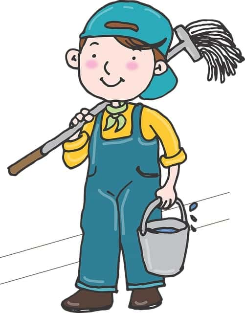 un homme qui fait le grand nettoyage