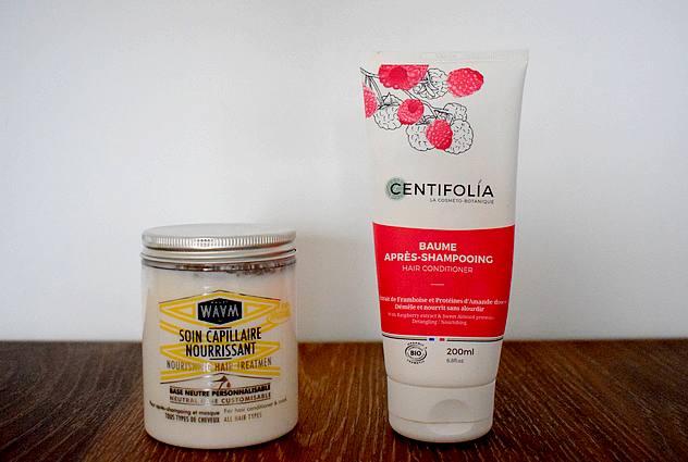 Mes produits de beauté favoris bio et naturels en 2017 cheveux : masque Waam et baume démêlant Centifolia