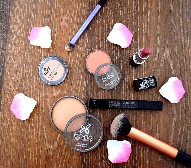 Tag mes favoris beauté 100% naturels maquillage bio : anti-cernes Avril, blush Boho, poudre terre cuite Boho, bronzer Lily Lolo, rouge à lèvres Lavera, mascara Volume Liner Une Beauty