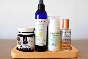 Tag mes favoris beauté 100% naturels visage : gommage argile, masque au miel de manuka, gel d'aloe vera, huiles végétales