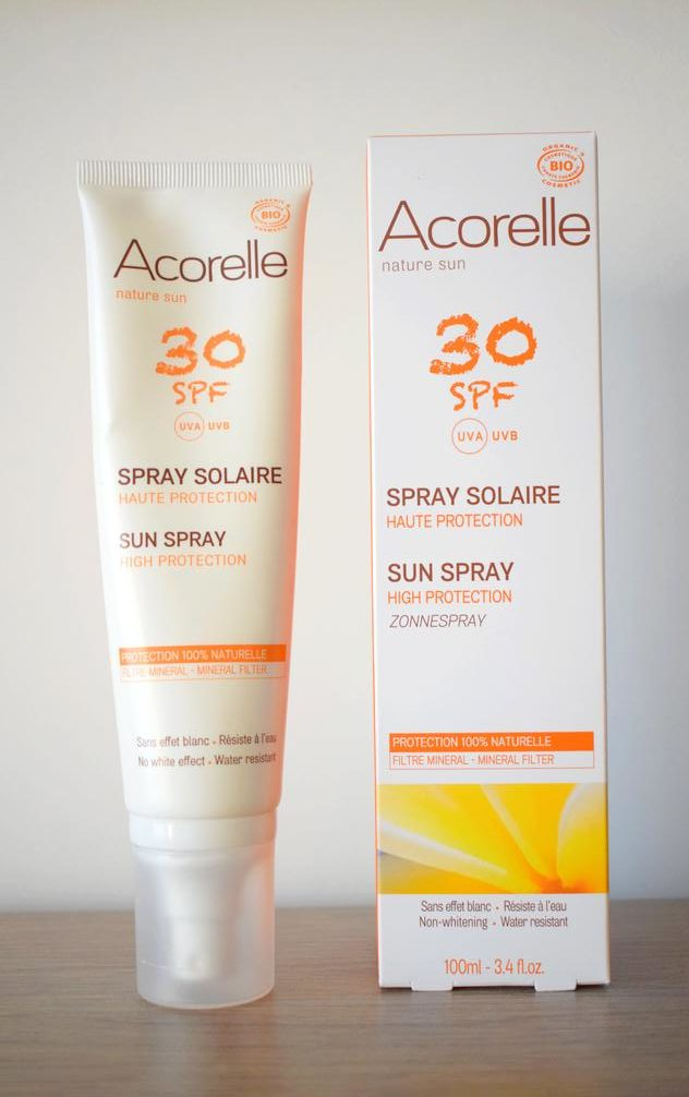 spray solaire acorelle spf30 visage e1530545824994 - Passer un bel été au naturel : crèmes solaires et autobronzants bio