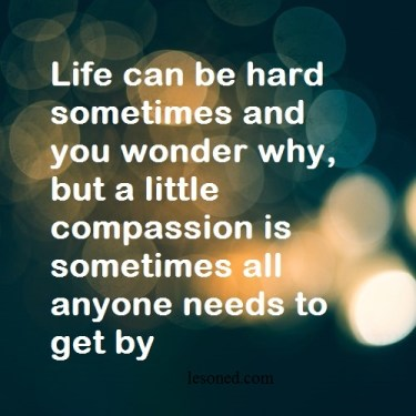 Life can be hard sometimes and you wonder why, but a little compassion is sometimes all anyone needs to get by