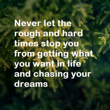 Never let the rough and hard times stop you from getting what you want in life and chasing your dreams