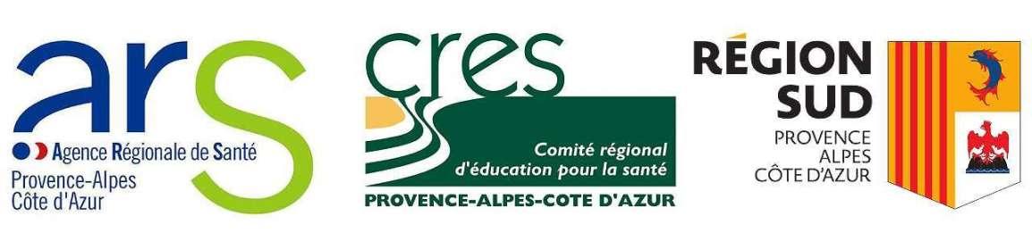 Logos de l'ARS PACA, du CRES PACA et de la région Sud