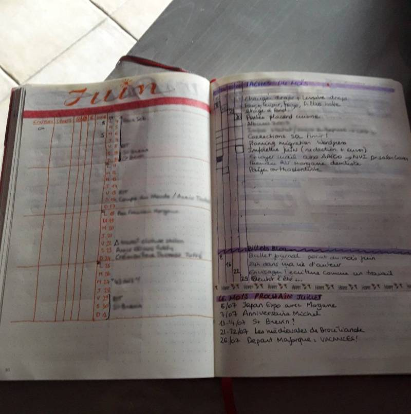 bullet journal bujo page mensuelle monthly juin