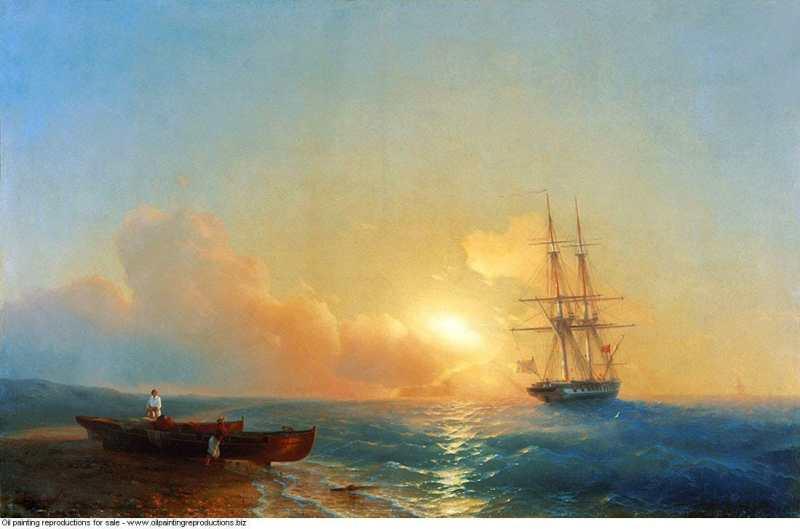 Fishermen on the coast of the sea peinture ivan aivazovsky