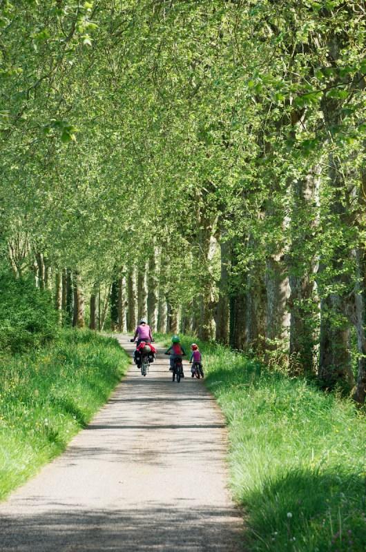 Les enfants pédalent à leur rythme au bord du canal