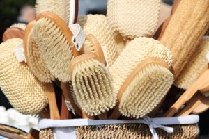 wooden SPA brush and accessories