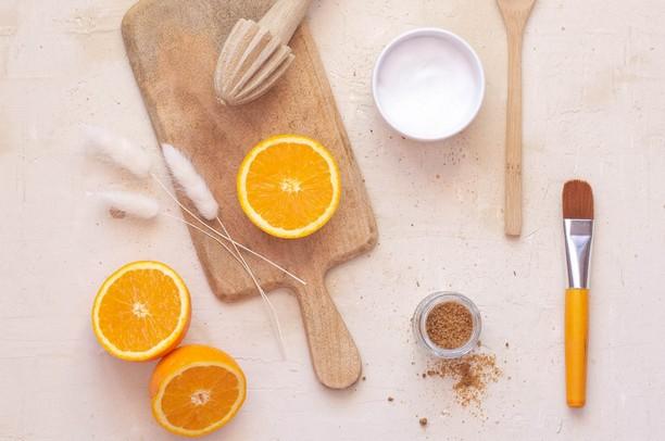 ingrédients orange sucre yaourt masque visage maison diy recette beauté naturelle bio