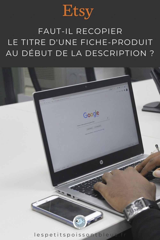 Etsy : faut-il recopier le titre d'une fiche au début du descriptif produit ?