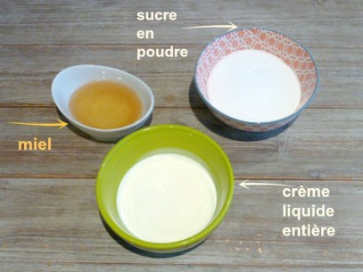 miel, sucre, crème liquide