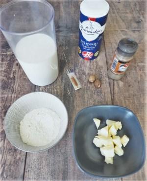 ingrédients pour la béchamel