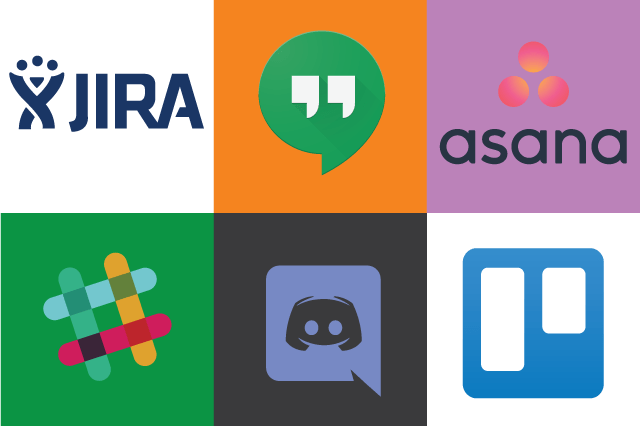 Logos for: JIRA, Google Hangouts, Slack, Discord, Trello, Asana