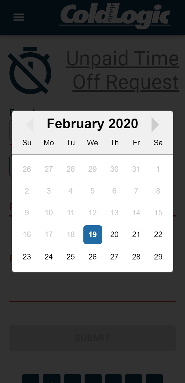 My ColdLogic Date Picker