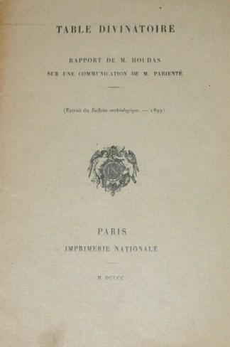 PARIENTE, Table divinatoire, 1900