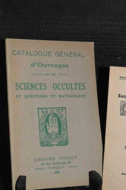 Catalogue général d'ouvrages sur les sciences occultes et questions s'y rattachant, Paris, Librairie Niclaus, 1936