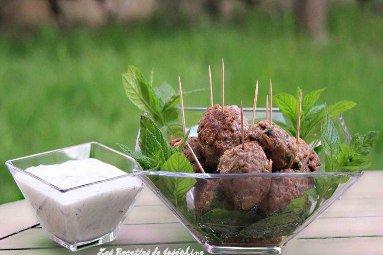 Boulettes d'agneau façon kefta, sauce tzatziki