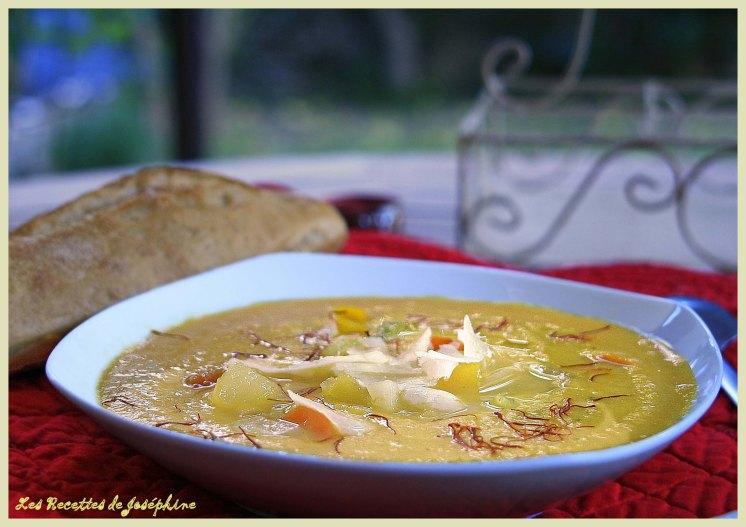 Crème de pâtissons et parmesan safranée