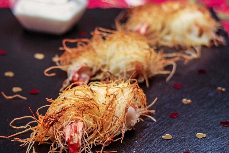 Gambas en kadaïf,sauce aïoli