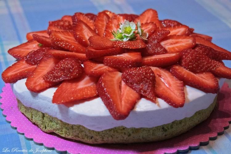 gâteau fraises pistaches