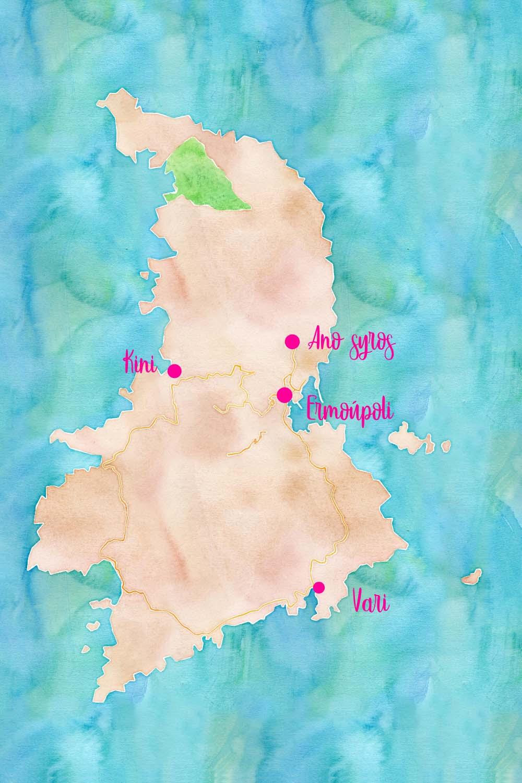 Plan de l'île de Syros