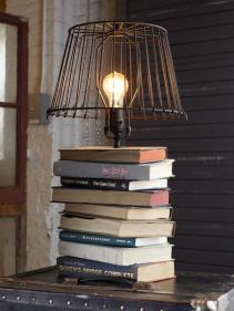 fabriquer-lampe-chevet-abat-jour-metallique-pied-bouquins