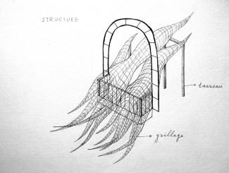 "2015 EPHEMERES #5; croquis de l'oeuvre ""VOLTIGE"" de Yuhsin U CHANG"