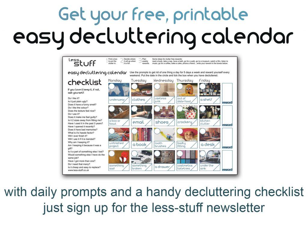 printable decluttering calendar