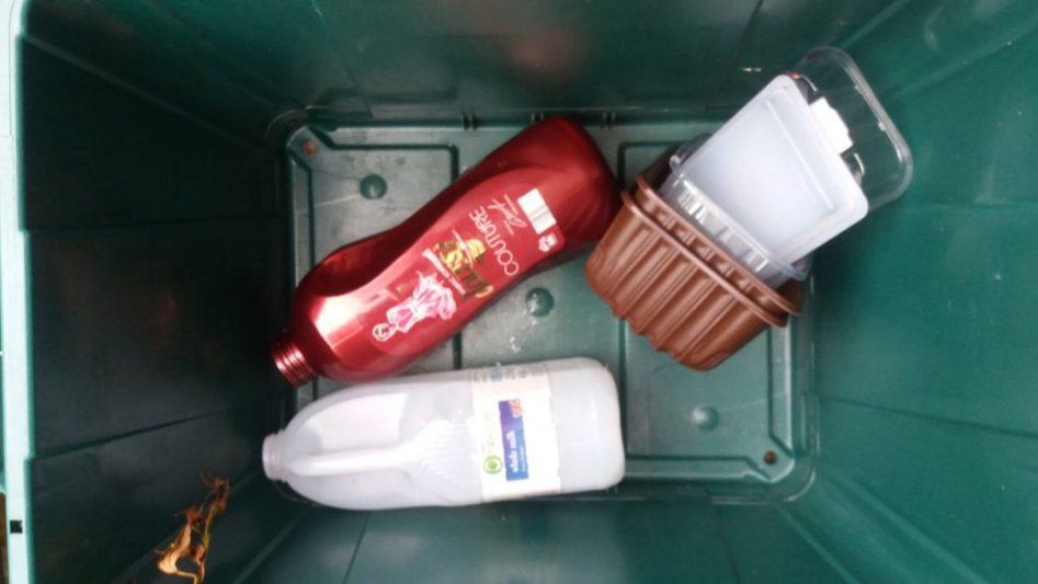 Plastic in the recycling bin