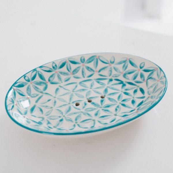 porte savon ovale à motif mosaïque