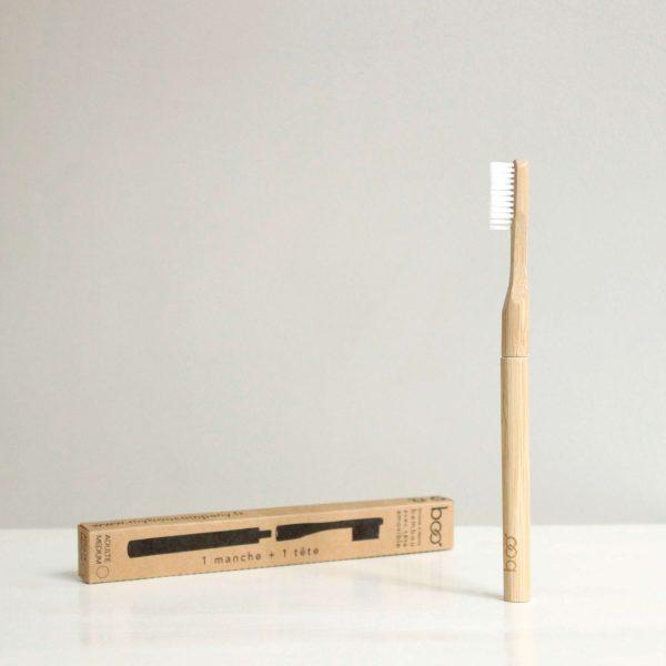 Brosse à dents souple tête interchangeable en bambou