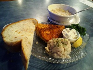 "Mo's Halibut with their ""world famous clam chowder"""