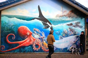 Giant Mural on outside of Mo's in Newport, Oregon